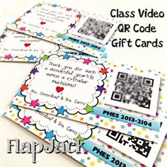 Class Video QR Code Gift Cards: http://www.flapjackeducation.com/2014/06/end-of-year-class-video-qr-code-gift.html?spref=fb&m=1