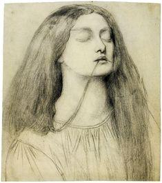 "Dante Gabriel Rossetti (1828-1882), Elizabeth Siddal, Etude de Delia dans ""The Return of Tibullus to Delia"" - 1855/62"
