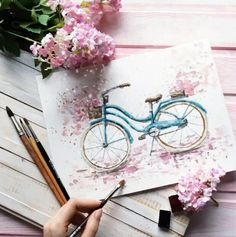 Painting Watercolor Flowers Watercolour 40 Ideas - Photography İdeas,Photography Poses,Photography Nature, and Vintage Photography, Watercolor Artwork, Watercolor Drawing, Watercolor Illustration, Watercolor Flowers, Painting & Drawing, Painting Flowers, Drawing Drawing, Bike Drawing, Drawing Flowers