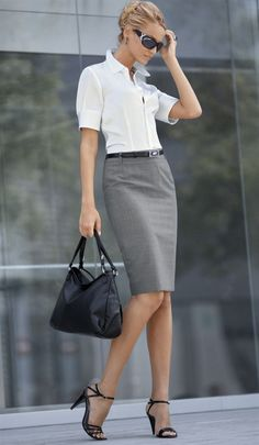 Gray Pencil Skirt White Blouse Skinny Black Belt and Black Ankle Strap High Heel… – Business professional outfits for interview Curvy Outfits, Mode Outfits, Office Outfits, Fashion Outfits, Womens Fashion, Office Attire, Office Wear, Stylish Outfits, Woman Outfits