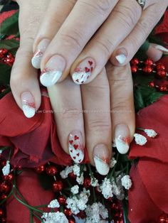 Eye Candy Nails & Training - White french, love heart valentine nail art by Elaine Moore on 7 February 2014 at Fancy Nails, Love Nails, Red Nails, Valentine Nail Art, Valentines, Gel Nail Extensions, One Stroke Nails, Nail Salons, Painted Toes