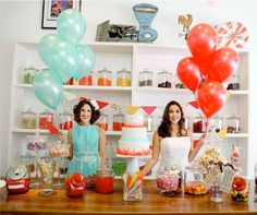 Adorable awesome candy themed wedding in red and teal - the cake has rock candy on it!