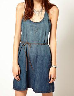 #sheinside Navy Sleeveless Drawstring Waist Denim Tank Dress - Sheinside.com