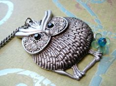 Owl  Necklace  Antique Silver Color with Rhinestone by iceblues, $24.00