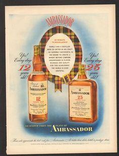 1949 Print Ad Ambassador Scotch Whisky bottles belt old
