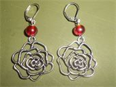 Roses Are Red Tibetan silver rose. Red glass beads. Silver leverback earring. Price: $5.50