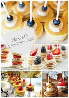 Pancake Stacks {Brunch Foods That Rock}! For baby shower you could tie a pink ribbon to the sticks.Mini Pancake Stacks {Brunch Foods That Rock}! For baby shower you could tie a pink ribbon to the sticks. Birthday Brunch, Brunch Party, Brunch Wedding, Easter Brunch, Sunday Brunch, Birthday Breakfast, Birthday Parties, Brunch Recipes, Breakfast Recipes