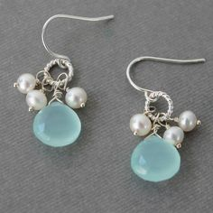Aqua Chalcedony Earrings, White Pearl Cluster, Sterling Silver Wire Wrapped