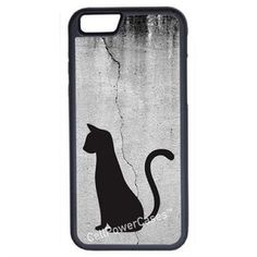 CellPowerCasesTM Cat on Cracked Wall iPhone 6 (4.7) Protective V1 Black Case