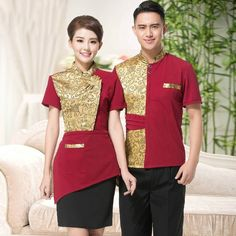 ddd475518 New Supermarket Bar Cafe Hotel Restaurant Waiter Uniform KTV Waitress Uniform  Short Sleeve Bar Work Wear Work Jacket Clothes 89
