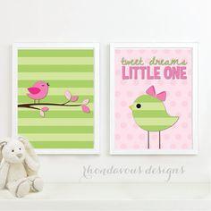 Tweet DreamsLittle One Duo. - Home. Decor. Nursery. Girl. Bird - Shown in Celery…