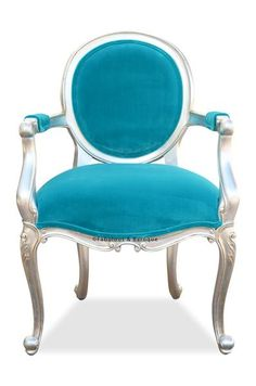 Angelique Armchair - Silver Leaf & Turquoise Velvet
