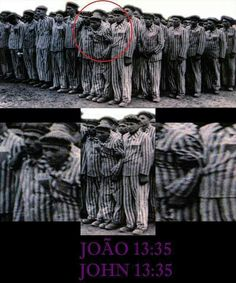 """By this ALL will know that you are my disciples if you have love among yourselves.""  (John 13:35) The circled men are Jehovah's Witnesses holding their brother up. If he cannot stand he will be shot. When they were on the death march to the sea, the Witnesses took every last Witness with them on a wagon. Hitler planned to kill them all but they all escaped into the woods and survived. This is true Christian love."