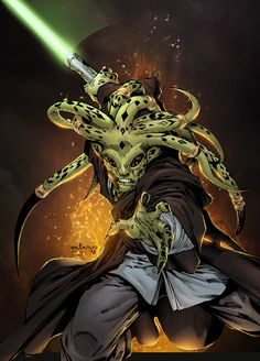 "tiefighters: ""Kit Fisto Pencils by Eric Basaldua Inks by Tony Kordos Colors by Sean Ellery """