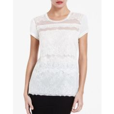 BCBGMAXAZRIA Rylan Lace Front Tee Round neckline Tiered, mixed lace front Short sleeve Unlined Measures approximately 25½'' from shoulder seam to hem; may vary by size Self: 100% Modal; Contrast 1: 100% Polyester; Contrast 2 / 3: 100% Nylon; Contrast 4: 60% Nylon / 40% Polyester; Lining: 80% Polyester / 20% Spandex; Never worn, in new condition BCBGMaxAzria Tops Tees - Short Sleeve