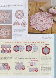 Hexagon posies separated by only tiny diamonds. Some diagrams and pics. Plenty of Inspiration. Quilting Tutorials, Quilting Projects, Quilting Designs, Hexagon Patchwork, Hexagon Pattern, Hexagon Quilting, Patchwork Tutorial, English Paper Piecing, Paper Piecing Patterns