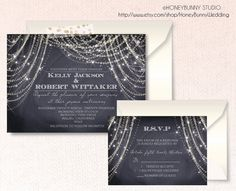 Chalkboard wedding invitation.Great Gatsby . Art Deco. RSVP. string lights.stars. Digital or Printed. chandelier .Elegant Rustic. Stars