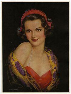1930s Pin-Up Print Jules Erbit Art Deco Gypsy Girl A Dream Come True Vintage NR