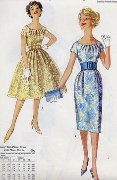 rouched neckline by Millie Motts, Vintage Dress Patterns, Clothing Patterns, Vintage Dresses, Vintage Outfits, 60s Patterns, Vintage Clothing, Vintage Fashion 1950s, Fashion Illustration Vintage, Patron Vintage