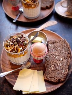 Danish breakfast - yoghurt with muesli, eggs,.