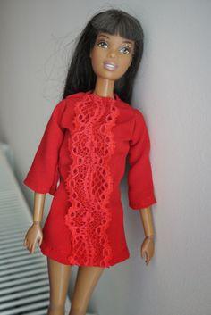 szycienocne: BARBIE: czerwona sukienka od Gucciego