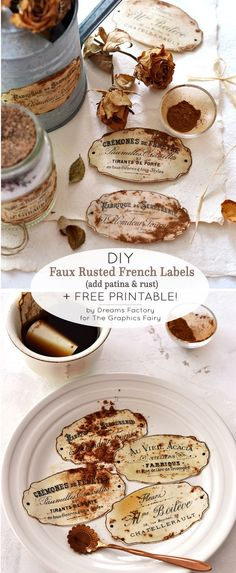 Make some fabulous DIY Faux Rusted French Labels! This is a fun technique, using a surprising ingredient! Free Vintage Printable is included. By Dreams Factory for Graphics Fairy. by jaclyn Diy Wood Wall, Diy And Crafts, Paper Crafts, Diy Blanket Ladder, Diy Headboards, Graphics Fairy, Free Graphics, Valentines Diy, Free Printables
