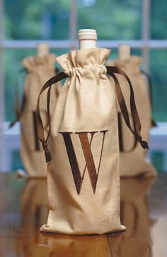 Linen Wine Bags with Block Monogram | Gracious Style