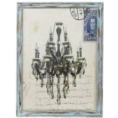 """Weathered framed wall art with a carte postal and chandelier design.      Product: Framed wall art    Construction Material: Wood and fabric   Color: Distressed blue frame      Features:Carte postale motifWeathered finish    Dimensions: 25.5"""" H x 19"""" W x 1"""" D    Cleaning and Care: Wipe with a dry cloth"""