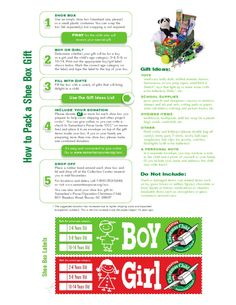 Operation Christmas Child - How to Pack a Shoe Box - Printable