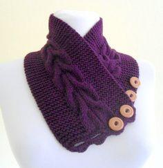 purple neckwarmers autumn wool by likeknitting on Etsy