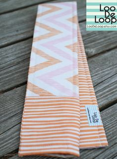 Organic Cotton DSLR Camera Strap Cover w/ Lens Cap Pocket with Pink Orange Chevron and Stripes by LooDeLoop,