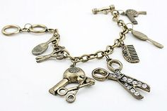 Vintage inspired cosmetology charm bracelet. This is a great gift for the cosmetologist in your life!