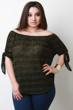 Off The Shoulder Knitted Tie Sleeve Top