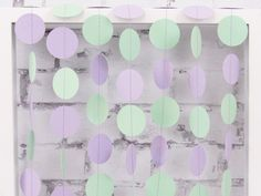 Mint and Lavender Paper Garland - Purple Party Decor - Gender Neutral Baby Shower - Purple and Mint Birthday Party by LucyBirdy on Etsy https://www.etsy.com/listing/198454760/mint-and-lavender-paper-garland-purple