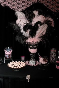 Final results of my daughter's Sweet 16 masquerade party! Center piece for the candy bar: Masquerade Party Decorations, Masquerade Ball Party, Masquerade Theme, Masquerade Wedding, Sweet 16 Birthday, 50th Birthday Party, Birthday Gifts, Theme Carnaval, Sweet 16 Masquerade