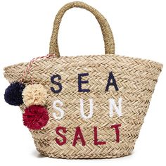 SUNDRY Sea Sun Salt Straw Bag (420 BRL) ❤ liked on Polyvore featuring bags, handbags, natural, straw purse, tri color handbags, pom pom handbag, embroidered purse and multi color purse