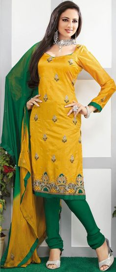 #Yellow Dupion #silk Churidar Kameez @ $108.58 | Shop Now @ http://www.utsavfashion.com/store/sarees-large.aspx?icode=kxc190