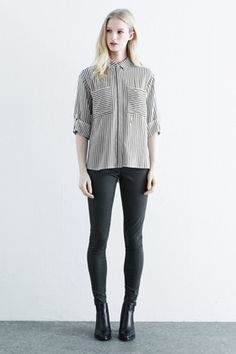 Black Relaxed Stripe Shirt | Warehouse