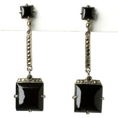Art Deco Vintage Jewelry - Onyx, Marcasite & Sterling Art Deco Earrings by Wachenheimer Brothers