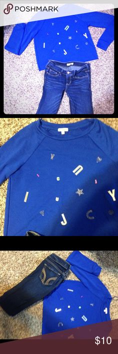 Juicy couture royal blue shirt This royal blue with the juicy couture brand spread all over the front of the shirt. Truly a conversation piece. Juicy Couture Tops Sweatshirts & Hoodies