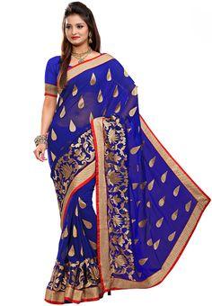 Ishin Blue Embellished Saree
