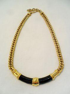 Vintage MONET Collar Link Necklace / Choker Black by KathiJanes