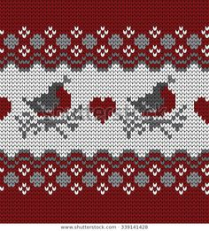 Find Knitted Seamless Pattern Bullfinches stock images in HD and millions of other royalty-free stock photos, illustrations and vectors in the Shutterstock collection. Knitting Charts, Loom Knitting, Knitting Stitches, Knitting Patterns, Sewing Patterns, Crochet Patterns, Knitting Designs, Knitting Projects, Etnic Pattern
