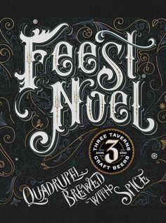 Feest Noel label lettering
