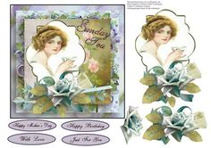 Sunday Tea Card Topper with Decoupage on Craftsuprint - Add To Basket!