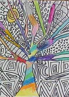2nd grade trees: Students drew trees,as they look when they have lost their leaves. In the background, they created a line design with a black sharpie. The trees were colored with crayons.