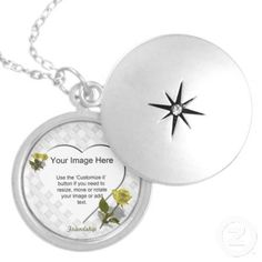 Yellow Rose of Friendship - Heart Photo Template Pendants.  Easily add your own photo online.