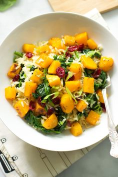 Rice with Roasted Butternut Squash and Dried Cranberries - Vegan, vegetarian and gluten free side dish from primaverakitchen.com