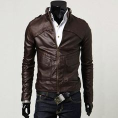 Stand-Collar Big Flap Pockets Men Leather Motorcycle Jacket Coffee [Men Leather Motorcycle Jacket Coffee] - $102.00 : letterman jackets cheap