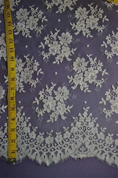 """Chantilly Lace Fabric 70"""" Wide Ivory Color Sold Priced by The 1 2 Yard 